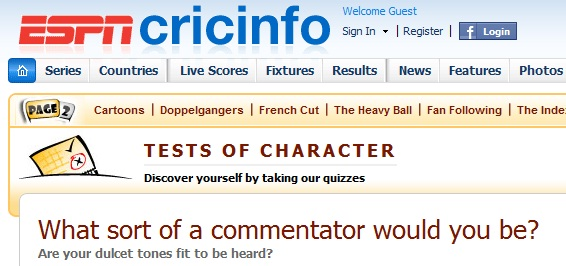 Cricinfo CommentaryQuiz What Sort Of A Commentator You Would Be?