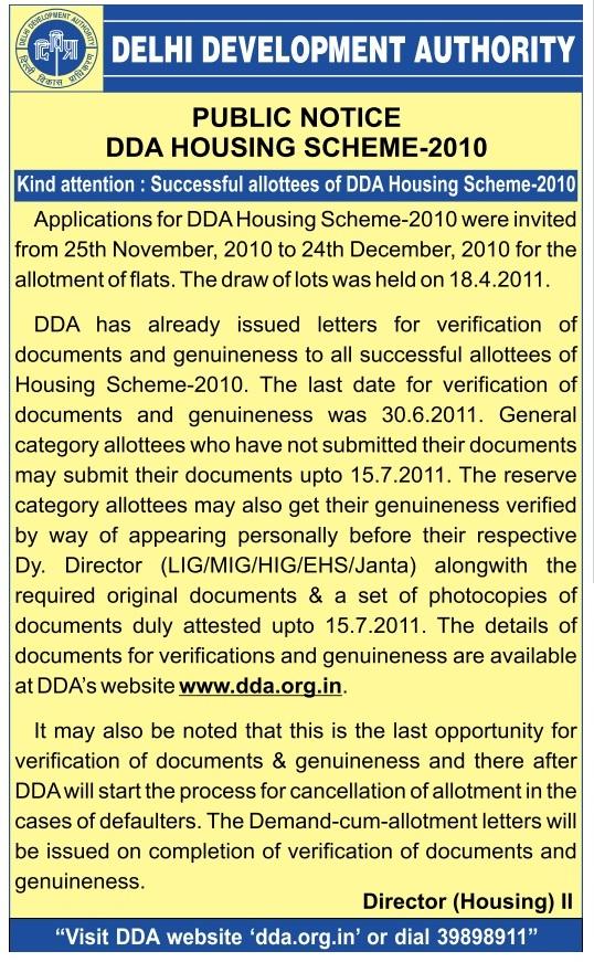DDA Housing Scheme 2010 Updates For Successful Allottees