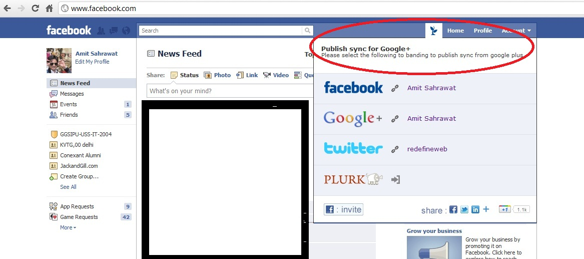 Facebook publishSync1 Sync Google+ with Facebook and Vice Versa
