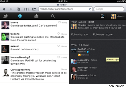 twitter HTML5 iPad new HTML5 Version for iPAD Launched by Twitter